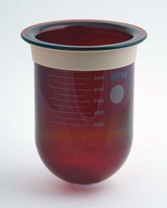 1000mL Amber Glass Vessel with Centering Ring for Zymark, Serialized